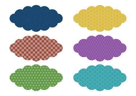 Cloud shape icons set. Japanese traditional pattern design. Vector illustration. 矢量图像