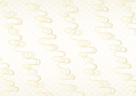 Wave pattern. Water Image vector illustration. Japanese traditional pattern background. Gold gradation background.