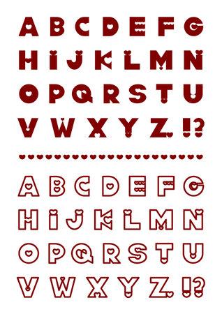 Heart design font letter set. Vector illustration of alphabet.