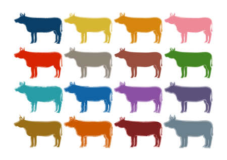 Vector illustration of cattle. Ox, cow, bull. Colorful icon set. 矢量图像
