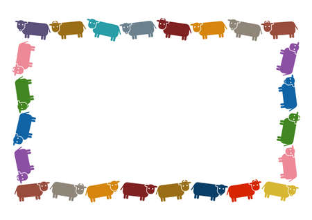 Vector illustration of cattle. Ox, cow, bull. Frame, background pattern.