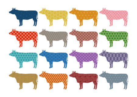 Vector illustration of cattle. Ox, cow, bull. Colorful Japanese traditional pattern. 矢量图像