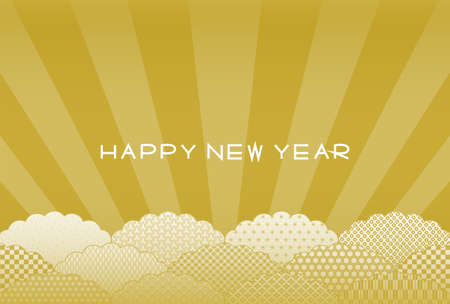 New Year's card. Cloud shape and light. Japanese traditional pattern. Vector illustration. 矢量图像