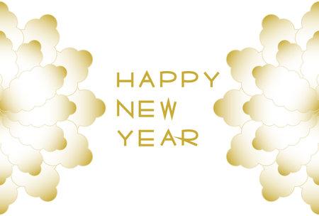 New Year's card. Gold floral design. Vector illustration. 矢量图像