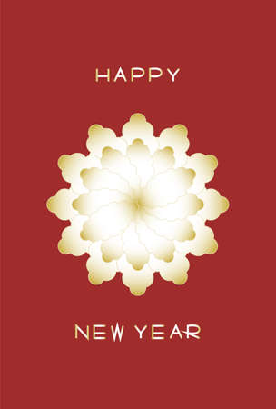 New Year's card. Gold floral design. Vector illustration. Red background.