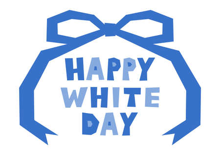 Vector illustration of White Day.   and ribbon design. Icon, banner, greeting card.