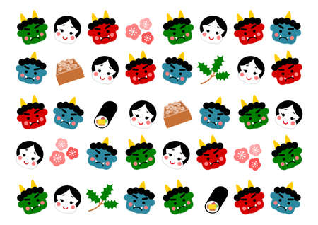 Vector illustration of Setsubun. Setsubun is a traditional Japanese event. People throw soy-beans at demon. Japanese demon, soy beans, plum blossom, holly, sushi roll.