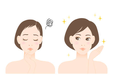 Women's beauty illustration. Trouble of thinning hair. White background. vector illustration.
