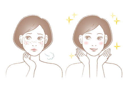 Women's beauty illustration. Trouble of spots and freckles. White background. vector illustration. Trouble of age spots and freckles.
