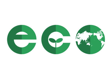 Vector illustration of ecology icon.  world map.