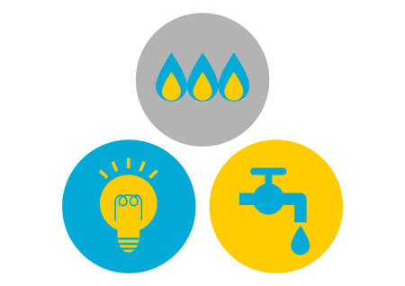 Vector illustration of utilities. Water, gas, electricity. Icons set.