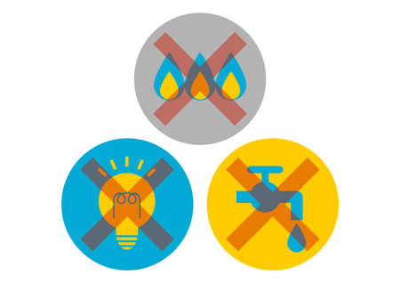 Power outage, water outage, gas outage. Vector illustration. Icons set.