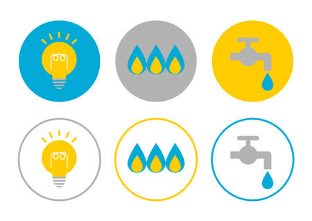Vector illustration of Utility bill payment. Water, gas, electricity. credit card, cash, cashless payment. Icons set.