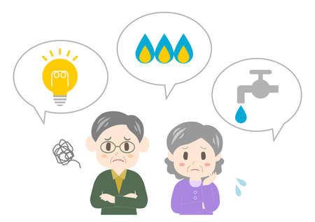 Vector illustration of utilities and troubled elderly couple. Water, gas, electricity.