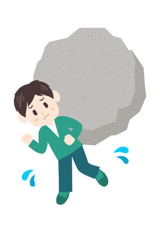 Stressful man. Heavy stress like rock. Vector illustration.