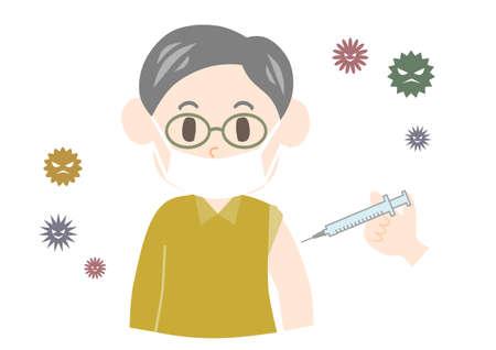 Elderly man get vaccinated. Vector illustration.
