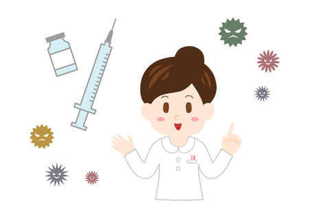 Nurse explaining vaccination. Vector illustration.