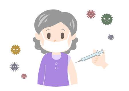 Elderly woman get vaccinated. Vector illustration.
