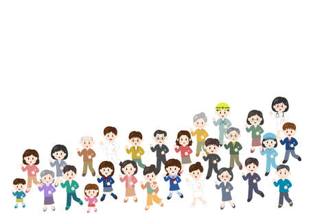 Vector illustration of people moving forward. Crowd.