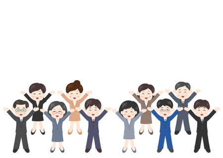 Vector illustration of People. Office worker, men, women. Glad, rejoice, happy.
