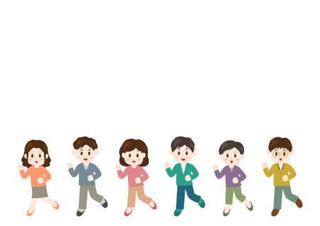 Vector illustration of people moving forward. Young men and young women. Illustration