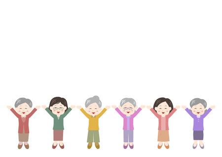 Vector illustration of People. Elderly women. Glad, rejoice, happy.