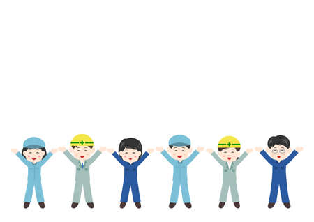 Vector illustration of People. Worker, construction worker, delivery person, cleaning staff. Glad, rejoice, happy. Illustration