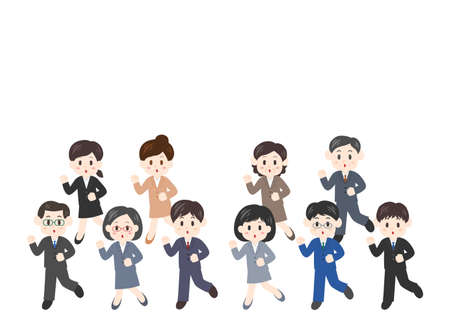 Vector illustration of people moving forward. Office worker, men, women.