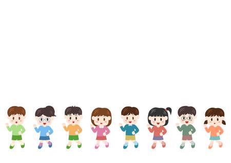Vector illustration of people moving forward. Children, boys, girls. Vektorové ilustrace