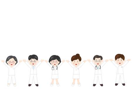 Vector illustration of People. Health care workers, doctor, nurse, caregiver. Glad, rejoice, happy. Illustration