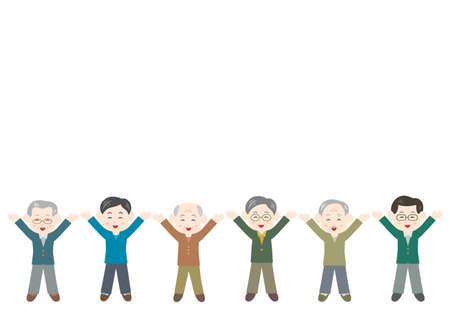 Vector illustration of People. Elderly men. Glad, rejoice, happy.