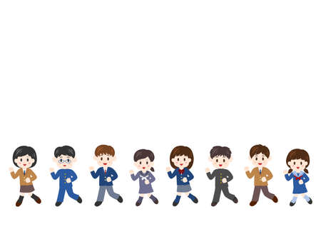 Vector illustration of people moving forward. Students, boys, girls.