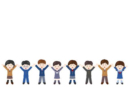 Vector illustration of People. Students, boys, girls. Glad, rejoice, happy.