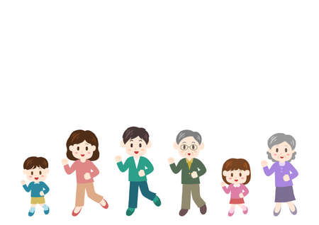 Vector illustration of people moving forward. Family, father, mother, children, grandfather, grandmother.