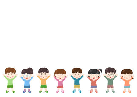 Vector illustration of People. Children, boys, girls. Glad, rejoice, happy.