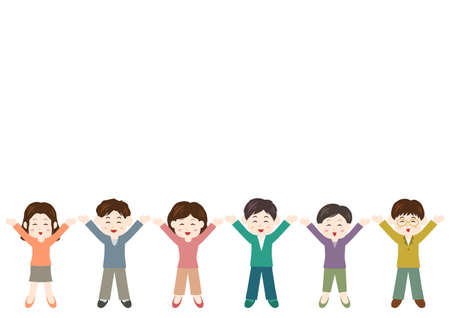 Vector illustration of People. Young men and young women. Glad, rejoice, happy.