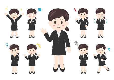 Vector illustration of People. Office worker illustrations set: woman