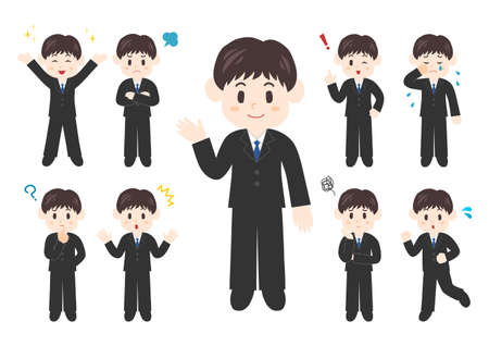 Vector illustration of People. Office worker illustrations set: man Illustration