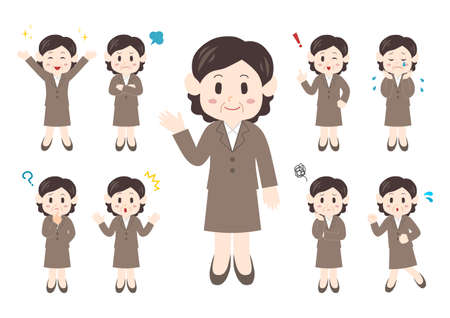 Vector illustration of People. Office worker illustrations set: middle-aged women