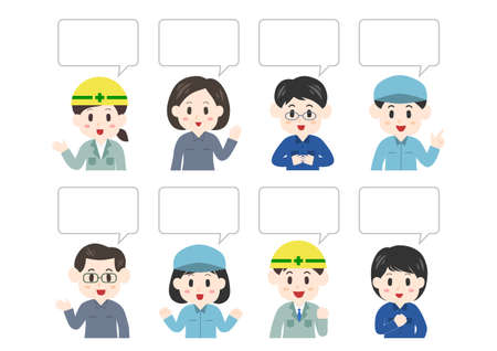 Vector illustration of people and speech balloon. Worker, construction worker, delivery person, cleaning staff.