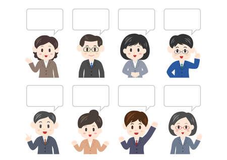 Vector illustration of people and speech balloon. Office worker, men, women.