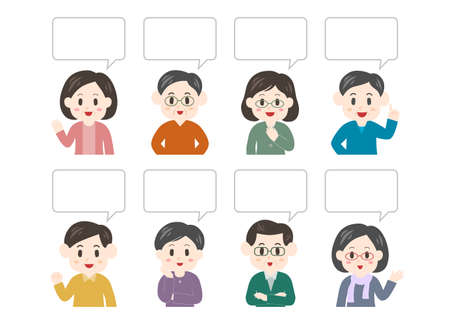 Vector illustration of people and speech balloon. middle-aged men, middle-aged women.
