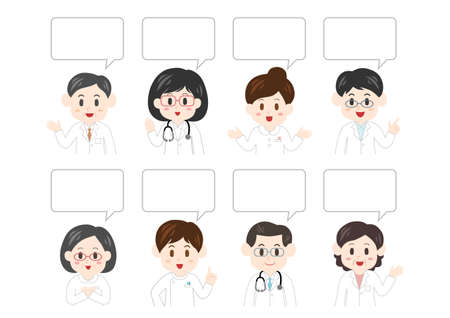 Vector illustration of people and speech balloon. Health care workers, doctor, nurse, caregiver. Illustration