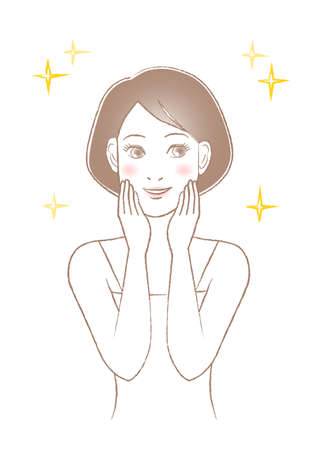 Women's beauty illustration. Smile woman. White background. vector illustration.
