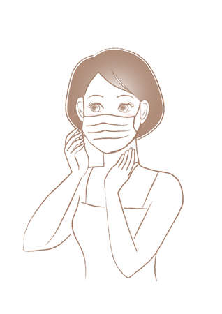 Woman wearing a face mask for prevention. Protection against infectious diseases. Cold prevention. Preventing hay fever. Vector illustration. Illustration