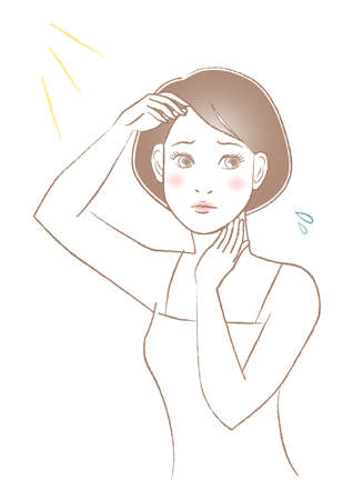 Women's beauty illustration. Protection from sunburn. Woman with a troubled face. White background. vector illustration.