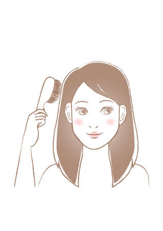 Woman combing her hair with a brush. White background. vector illustration.