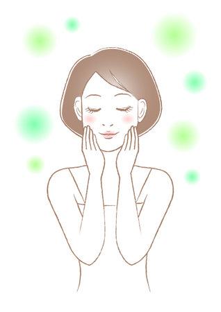 Women's beauty illustration. Skin care. White background. vector illustration. Illustration