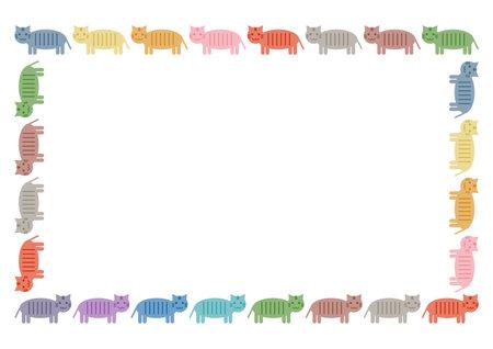 Vector illustration of cat or tiger. Cute design. Frame pattern.