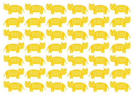 Vector illustration of cat or tiger. Cute design. Yellow pattern. Illustration